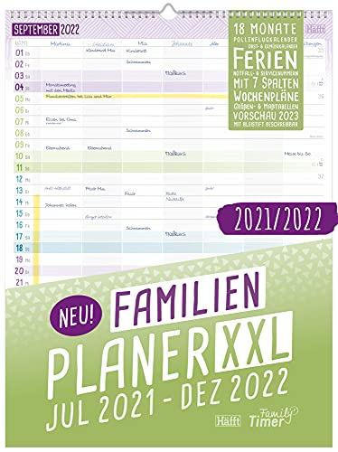 FamilienPlaner XXL 2021/2022 Wandkalender 7-spaltig, 33 x 44 cm   Laufzeit 18 Monate: Jul 21 - Dez 22   Familienkalender Wandplaner mit Ferienterminen u.v.m.   klimaneutral & nachhaltig