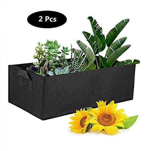 JYL Sac Plantes Pousser Sacs semences Tissu Plateau, Lits de Jardin pour Les légumes élevés Pommes de Terre et de Fleurs, 120 X 60 X 20 cm, 2 pièces,Noir