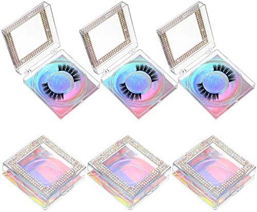 6 Pieces Empty False Eyelash Packaging Boxes Rhinestone Square Eyelash Storage Boxes Plastic product image