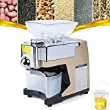 Automatic Oil Press Machine, Stainless Steel Cold Hot Food Grade Oil Extractor for Flax Peanut Sesame Canola Avocado Coconut Sunflower seeds 110V