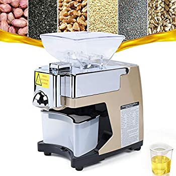 Automatic Oil Press Machine Stainless Steel Cold Hot Food Grade Oil Extractor for Flax Peanut Sesame Canola Avocado Coconut Sunflower seeds 110V
