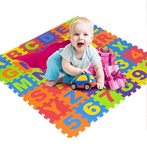 Miju Alfombra Puzzle Infantil para Niños Alfombra de Juegos para bebé Suelo de Goma EVA Suave 36 Piezas (15151cm) Letras y números Physical