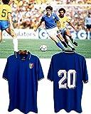 Paolo Rossi Maglietta da Calcio T-Shirt, Maglia Italia Coppa del Mondo Paolo Rossi, Italia 1982 Magliette Coppa del Mondo da Calcio Uomo Retro Commemorative Jersey, Maglia Calcio Italia (XL)
