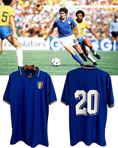 Paolo Rossi Maglietta da Calcio T-Shirt, Maglia Italia Coppa del Mondo Paolo Rossi, Italia 1982 Magliette Coppa del Mondo da Calcio Uomo Retro Commemorative Jersey, Maglia Calcio Italia (L)