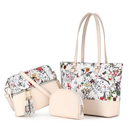 LOVEVOOK Damen Handtasche Schultertaschen Elegant Shopper Groß 3 Set Handtaschen Pu Leder Tasche Umhängetasche Henkeltasche, Beige Farbe