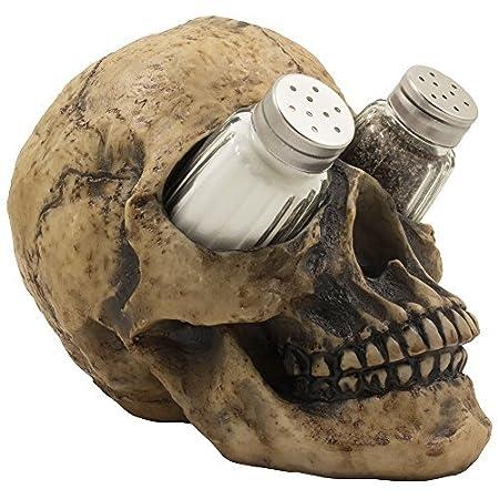 Scary Evil Human Skull Salt and Pepper Shaker