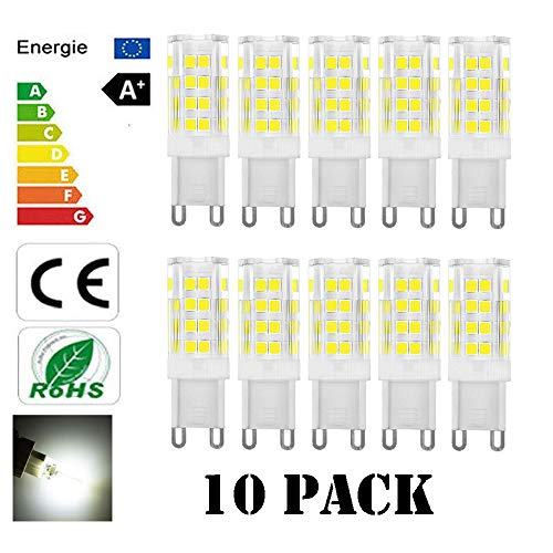 Lacmisc 10 stuks G9 LED-lampen, G9 LED-lampen 5 W, lampen spaarlampen zonder flikkeren, zonder stroboscoop, warm wit/wit