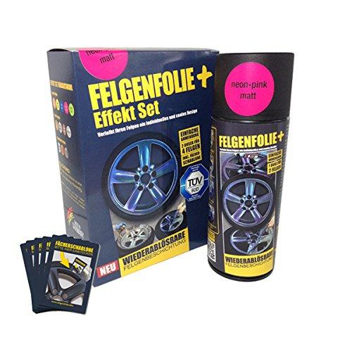 mibenco 71004028 FELGENFOLIE+ Effekt Set, 2 x 400 ml, Neon-Pink - Flüssiggummi Spray / Sprühfolie - Neue Neon-Farbe und Schutz zum Felgen lackieren