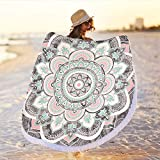 Oversized Circle Round Microfiber Mandala Beach Towel Blanket,Large Soft Absorbent Fast Dry Sand Free Picnic Yoga Mat Wall Hanging Table Cloth Hippy Boho Gypsy Wall Decor with Tassels,Grey & Pink(59)