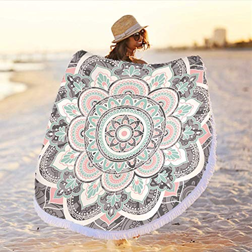 Zeronal Large Round Microfiber Mandala Beach Towel Blanket,Soft Absorbent Fast Dry Sand Free Picnic Yoga Mat Wall Hanging Table Cloth Hippy Boho Gypsy Wall Decor Tapestry with Tassels,Grey & Pink(59 )