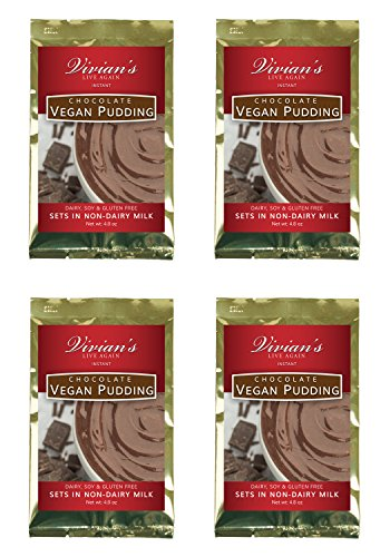 Vegan Chocolate Instant Pudding Mix 4 Pk by Vivian's Live Again Dairy Free, Soy Free, Gluten Free