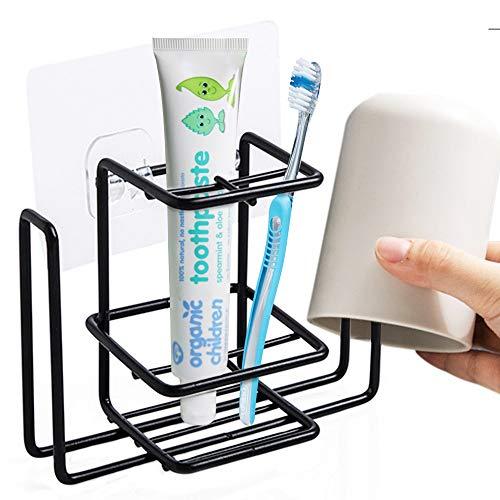 Aulpon Toothbrush Holder Wall Mounted Toothbrush Holder Toothpaste Holder and Cup Holder Stainless Steel Bathroom Storage Organizer(Black)