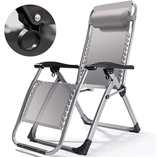 CHRYS Silla Zero Gravity Lounge Plegable al Aire Libre Reclinable para Personas Pesadas, Ajuste Libre de 90 ° -160 ° Silla reclinable Lounge Patio para Patio jardín Piscina de Playa
