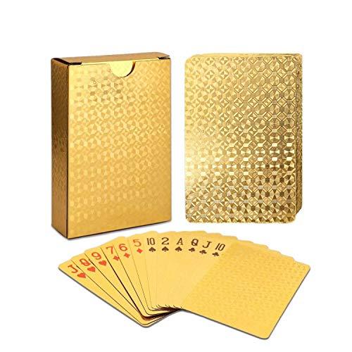 Weekend&Lifecan Wasserdichtes Pokerkarten, Spielkarten, Playing Cards ,Karten Spielen, Texas pokerwasserfeste Designer Profi Plastik Poker(golden)