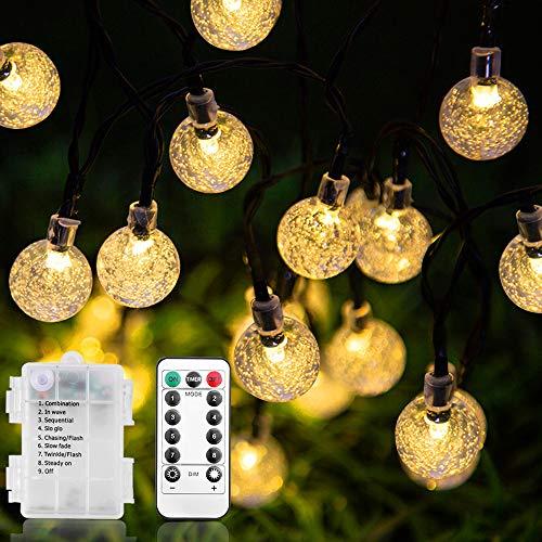 60 LEDs Kugeln Lichterkette, Lichterkette mit LED Kristall kugeln, Gartenlichterkette wasserdicht Außenlichterkette Dekoration für Garten, Terrasse, Weihnachten, Party, Hochzeit Außen Innen warmweiß