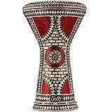 Darbuka Egipcia Gawharet El Fan - Tambor de Mano Derbake Árabe Doumbek de Aluminio con Cabeza Blanca de Malik Instruments - El Modelo Ruby Orchid