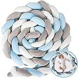 Triclicks Stoßleiste Bettschlange Bettumrandung Geflochten 4M Baby Nestchen Umgebung Baby Stoßstange Weben Kantenschutz Kopfschutz Dekoration für Krippe Kinderbett(Weiß + Grau + Blau,4M)