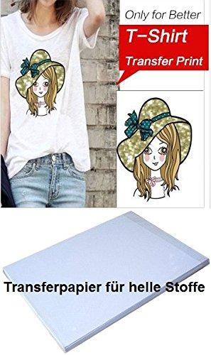 T-shirts eenvoudig zelf bedrukken: 20 vellen textiel-transferpapier voor het opstrijken van afdrukken op lichte T-shirts, DIN A4 / voor bijna alle inkjetprinters