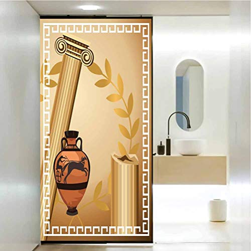 No Glue Privacy Window Film Glass Sticker, Toga Party Antique Greek Columns Vase Olive Branch Hellenic Heritage Icons, Easy to Install and Reuse Glass Film 23.6 x 78.7 in, Light Brown Cinnamon White