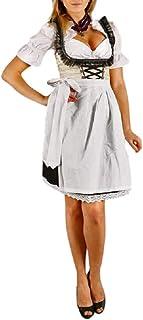 Edelnice Trachtenmode Sexy Mini Dirndl 3-TLG. Creme schwarz mit passender Bluse und Schürze Gr. 32-50
