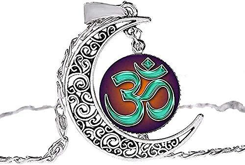 WYDSFWL Collar Hombre Collar Musulmán Alá Ohm Hindu Budista AUM OM Símbolo Collar de Henna Flor Mandala Gema de Cristal Hecho a Mano Luna Hueca Colgante Gargantilla