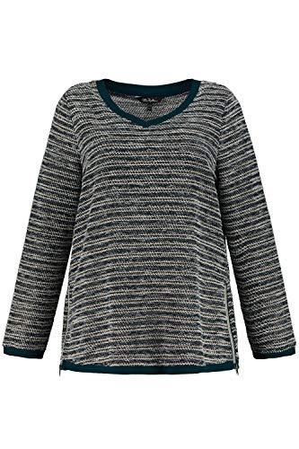 Ulla Popken Damen große Größen bis 64, Sweatshirt mit Bouclé-Streifen, Lässige Form mit 2 Zippern, V-Ausschnitt, Langarm und Rippbündchen, petrolgrün 54/56 718759 78-54+