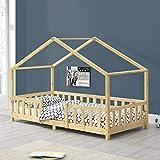 Cama para niños de Madera Pino 90 x 200 cm Cama Infantil con Reja Protectora Casita Forma de casa Pino Natural