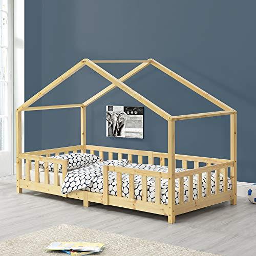 Cama para niños de Madera Pino 90 x 200 cm Cama Infantil con Reja Protectora Casita Forma de casa...