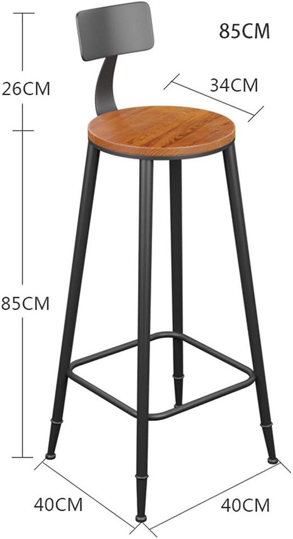 Bar Stool Iron Art Solid Wood Simple High Bar Chair High Stool High Chair Backrest Chair (Size   85cm)