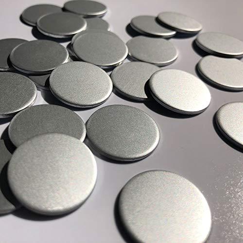 RMS 100 Stück - Aluminiumscheiben (Silbermatt), Alu-Ronde, Scheibe aus eloxiertem Aluminium, Metallscheibe, Wertmarke, Anhänger, Basteln, DIY (Ø: 20 x 1,5 mm) - *Nicht selbstklebend*