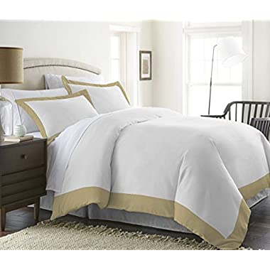Kotton Culture 600 Thread Count 3 Pc Two Tone Duvet Cover (1 Duvet Cover & 2 Pillow Shams) 100% Egyptian Cotton Hypoallergenic Solid By (California King/King, Taupe)