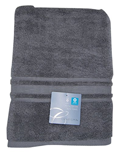 Charisma Bath Towel - 100 Percent Hygro Cotton, 30 x 58 Inch - Gunmetal Grey
