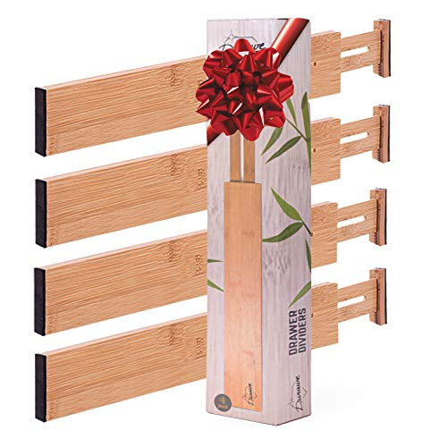 """Drawer Dividers Bamboo Kitchen Organizers 4-pack, Spring Loaded Drawer Divider Adjustable & Expandable Drawer Organizer - Best for Kitchen,Bedroom,Dresser,Baby Drawers & Closet (Longer (17.6""""-21.9""""))"""