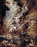 Rubens (The Fall of the Damned, c.1620/21) Canvas Art Print Reproduction (21.7x16.8 in) (55x43 cm)
