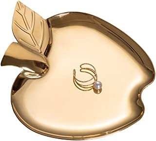 Feyarl Trinket Ring Tray Dish Gold Cosmetic Tray Vanity Candy Tray Jewelry Dish