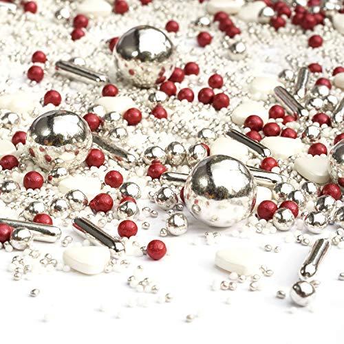 Streusel Sissi weiss silber rot 180g Zuckerstreusel Weihnachten | my Sprinkles | Zucker Streusel zur Verzierung von Plätzchen Torten Kuchen Muffins Cupcakes | Deko Silvester Party