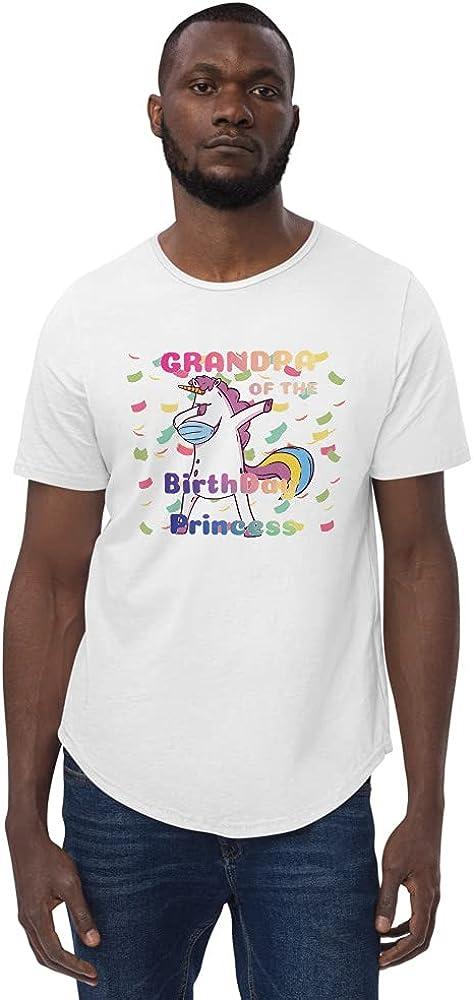 Men's Curved Hem T-Shirt Grandpa Birthday The Princess Dabbin New Orleans Mall of Detroit Mall