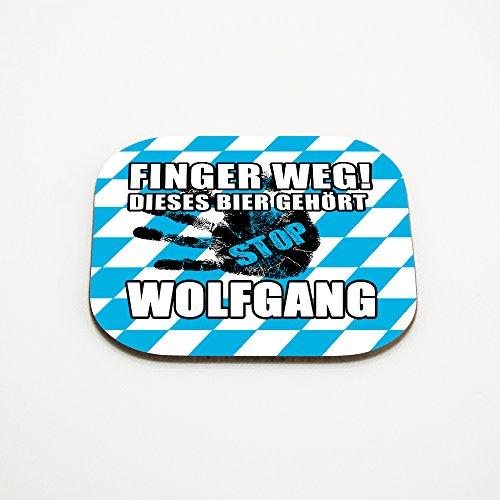 Untersetzer für Gläser mit Namen Wolfgang und schönem Motiv - Finger weg! Dieses Bier gehört Wolfgang