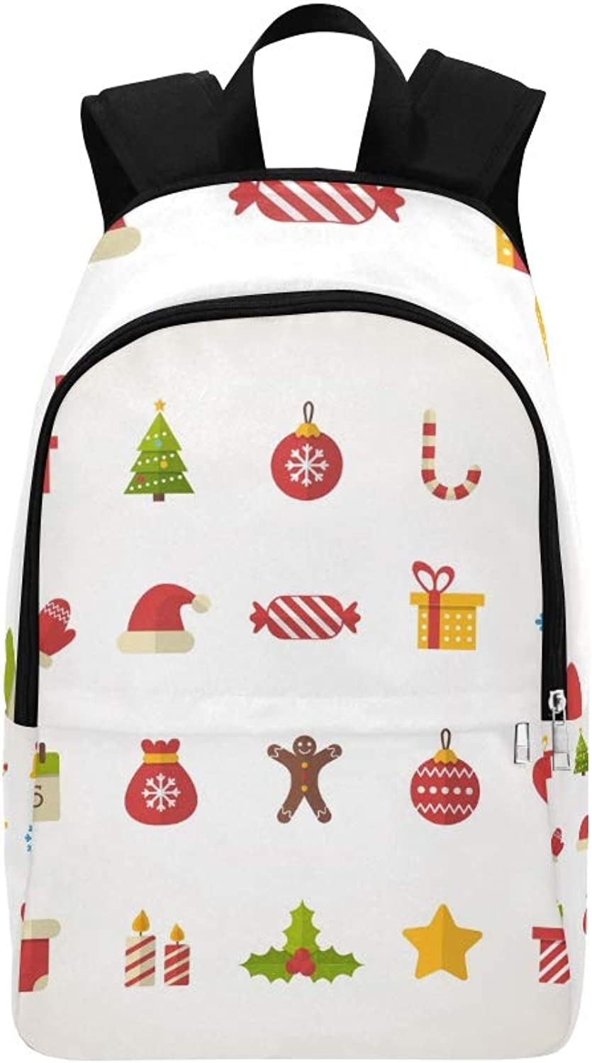 Set Flat Christmas Icons Casual Daypack Travel Bag College School Backpack for Mens and Women