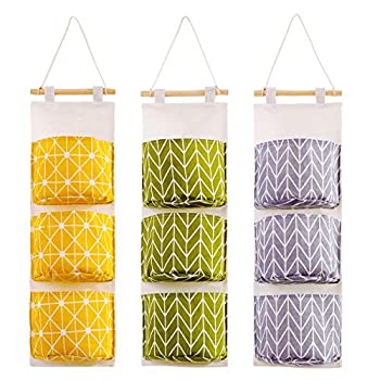 3Pcs Wall Hanging Storage Bag Bathroom Moistureproof Organizer Bag with 3 Pockets for Paper Towels Combs Makeup Brushes Razors Glasses