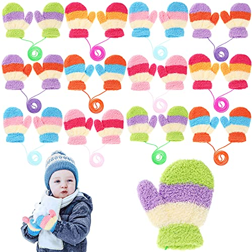 12 Pairs Baby Winter Warm Mittens Thick Full Finger Baby Gloves Soft Ski Gloves with Rope for Infant Baby Girls Boys Winter Outdoor Activities