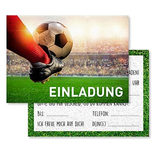 Gentle North 15 x Fussball Einladungskarten Kindergeburtstag (Größe A6) - Coole Fußball Einladung zum Kinder Geburtstag für Jungen und Mädchen - Witzige Einladungskarte zur Geburtstagsfeier - Schuss