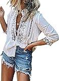 Jolicloth Mujer Camisetas Sexy Encaje Crochet Cuello en V Blusa de Manga 3/4 con Botones Elegante Camisetas Casual Camisas Tops Blanc M