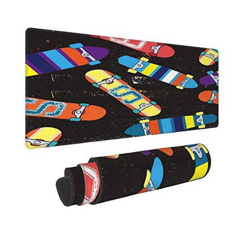 Extra Groß Mauspad mit Genähten Kanten,XXL-90 x 40 x 0.3cm,Skateboard Helles abstraktes Muster mit Skateboard,Schreibtisch Mat Personalisiert für Die Arbeit Spiel Büro Computer Laptop