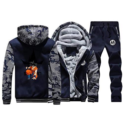 Anime Dragon Ball Z Sweatshirt Jacke Herren Mit Kapuze Hoodie Kapuzenpullover Reissverschluss Cosplay Kostüm Plus Dicke Top Mantel + Trainingsanzug Jogginghose Dunkelblau 1 L