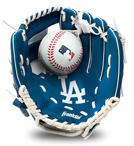 "Franklin Sports MLB Youth Teeball Glove and Ball Set - Kids LA Dodgers Baseball and Teeball Glove and Ball - Perfect First Kids Glove - 9.5"""