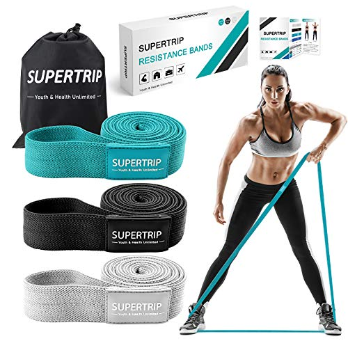 Supertrip Long Fabric Resistance Bands-Pull Up Bands with 3 Resistance Levels, Elastic Exercise Bands Set for Women/Men, Anti-Slip Fitness Bands, Workout Bands for Stretch Training,Pilates,Yoga