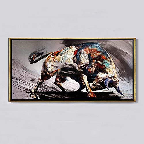 Xykshiyy Moderno Minimalista impresión en Blanco y Negro Pintura al óleo Vaca Vaca Fortuna Sala de Estar Pasillo Pasillo Imagen de Fondo Abstracto Vaca / 50x150cm sin Bordes