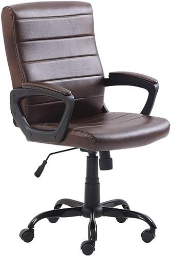 Chaise de conférence, chaise en PU facile à nettoyer chaise bureau d'ordinateur et chaise personnel chaise chaise de bureau chaise de réception chaise de chambre (Couleur   oren marron)