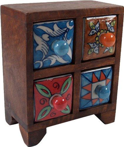 Guru-Shop Armario de Farmacia con Cajones de Cerámica de Colores - 2x2 Compartimentos Modelo 3, Marrón, 18x15x8 cm, Latas, Cajas Ataudes